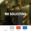 No Soliciting Vinyl Die Cut Glass Window Decal