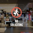 No Soliciting Glass Window Decal