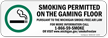 Smoking Permitted On The Gaming Floor, Michigan Label
