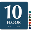 Floor Number 10 TactileTouch Braille Sign