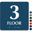 Floor Number 3 TactileTouch Braille Sign