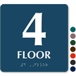 Floor Number 4 TactileTouch Braille Sign