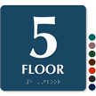 Floor Number 5 TactileTouch Braille Sign