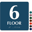 Floor Number 6 TactileTouch Braille Sign