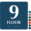 Floor Number 9 TactileTouch Braille Sign