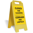 Closed For Cleaning Bilingual Free-Standing Sign