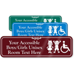 Accessible Boys Girls Unisex Room Custom Sign