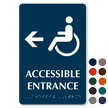 Accessible Entrance with Left Arrow Braille Sign