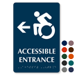 Accessible Entrance Left, Updated Symbol Braille Sign