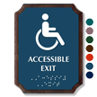 Accessible Exit Braille TactileTouch Wood Plaque