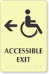 Bilingual Accessible Exit Left Arrow Sign