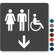 Men, Women & Accessible Pictograms With Down Arrow