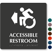 Accessible Restroom With Arrow TactileTouch Braille Sign