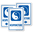 Acupuncture Hospital Sign with Taijitu Symbol