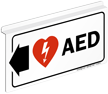 AED Sign with Left Arrow and Symbol