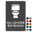 All-Gender Restroom Braille Sign, Toilet Bowl Symbol