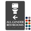 All-Gender Restrooms, Left Arrow Directional Braille Sign