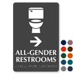 All-Gender Restrooms, Right Arrow Directional Braille Sign