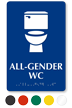All-Gender WC Braille Restroom Sign With Toilet Symbol