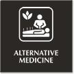 Alternative Medicine Engraved Sign with Natural Therapies Symbol