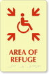 Area Of Refuge Handicapped Directional Sign with Braille