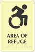 Glow Area Of Refuge Sign, Updated Accessible Symbol