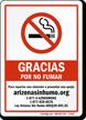 Gracias por no fumar Spanish Sign