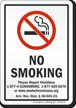 Arizona No Smoking Please Report Violations Sign