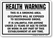 Health Warning This Is Smoking Area Sign