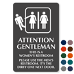 Attention Gentleman Please Use The Men's Restroom Sign