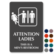 Attention Ladies Men's Restroom Engraved Sign