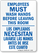 Employees Must Wash Hands Sign Bilingual