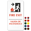 Bilingual Braille Fire Exit Arrow Sign