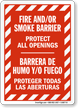 Bilingual Fire Smoke Barrier, Protect All Openings Sign