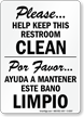Keep Restroom Clean Bilingual Sign