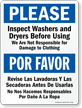 Bilingual Inspect Washers And Dryers Before Using Sign