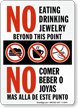 Bilingual No Eating Drinking Jewellery Beyond Point Sign