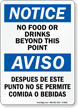 Bilingual No Food Or Drinks Beyond Point Sign