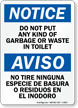 Bilingual Do Not Put Any Garbage Sign