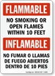 Bilingual No Smoking Or Open Flames Sign