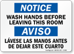 Bilingual Notice Wash Hands Before Leaving Sign