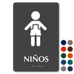 Ninos Spanish Restroom Braille Sign with Girl Pictogram