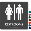 9in. x 9in. Single Entrance TactileTouch Unisex Restrooms Sign With Braille