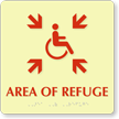 Glow Area Of Refuge Wheelchair Symbol Braille Sign