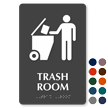 Trash Room Symbol TactileTouch™ Sign with Braille