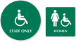 California Wall And Door Sign Staff Women Restroom Kit