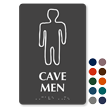 Cave Men Braille Restroom Sign