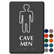 Cave Men Braille Restroom Sign