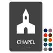 Chapel TactileTouch Braille Sign with Church Symbol