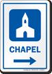 Chapel Right Arrow Hospital Sign